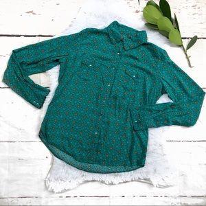 Wrangler Teal Floral Snap Button Down Shirt M